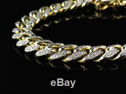 10Ct Round Cut Diamond Miami Curb Cuban Link Bracelet 14K Solid Yellow Gold Over