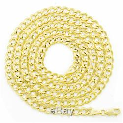10K Real Yellow Gold 5.5mm Curb Link Cuban Chain Necklace Mens Womens 18- 30