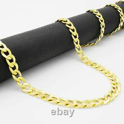 10K Real Yellow Gold 5.5mm Fine Curb Cuban Chain Link Necklace Lobster Clasp 20