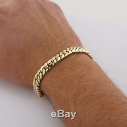 10K Real Yellow Gold 7.5mm Miami Cuban Link Hand Made Men's Bracelet 8.5