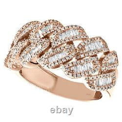 10K Rose Gold Round & Baguette Diamond Miami Cuban Link Ring 13mm Band 0.92 CT