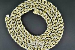 10K Solid Heavy Yellow Gold Miami Cuban Chain Necklace with 8.95 CT Diamond
