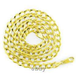10K Solid Yellow Gold Mens 7mm Cuban Curb Chain Link Bracelet Lobster Clasp 8