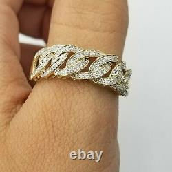 10K Solid Yellow Gold Miami Cuban Genuine Diamond Ring Band Style Men REAL