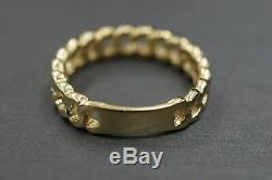 10K Solid Yellow Gold Polished 5MM Wide Cuban Curve Chain Band Ring. Size 7.25