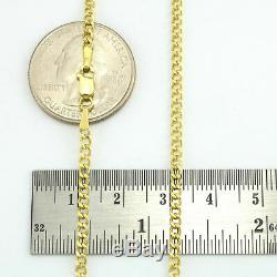 10K Yellow Gold 2.5mm Italian Cuban Curb Link Chain Necklace Lobster Clasp 20
