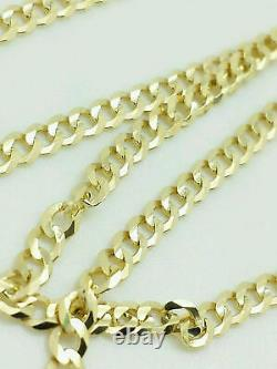 10K Yellow Gold 3MM Curb Cuban Chain Link Pendant Necklace 24