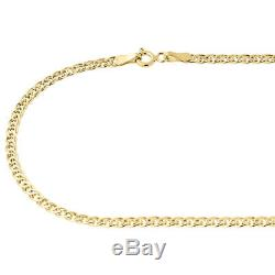 10K Yellow Gold 3MM Double Cuban Curb Italian Link Chain Necklace 16 -24 Inches