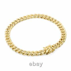 10K Yellow Gold 3.5mm-17mm Miami Cuban Link Chain Bracelet Mens Womens, 7- 9