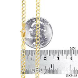 10K Yellow Gold 3.5mm Diamond Cut White Pave Cuban Curb Link Chain Necklace 20