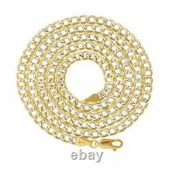 10K Yellow Gold 3.5mm Diamond Cut White Pave Cuban Curb Link Chain Necklace 22
