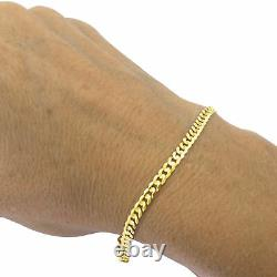 10K Yellow Gold 4.5MM Real 8in Cuban Curb Link Chain Bracelet Lobster Clasp 8