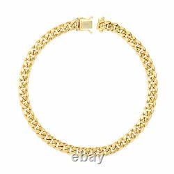 10K Yellow Gold 5mm Real Miami Cuban Link Chain Bracelet Safety Box Clasp 7.5