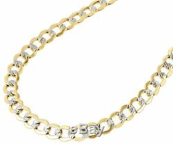 10K Yellow Gold 6.5MM Hollow Cuban Curb Necklace Diamond Cut Pave Chain 20-30