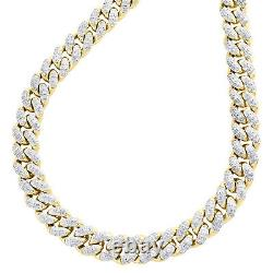 10K Yellow Gold 7.50mm Round Diamond Miami Cuban Link Necklace 22 Chain 2.80 CT