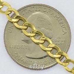 10K Yellow Gold Genuine 4.5mm Curb Cuban Link Chain Necklace Mens Women 16- 30
