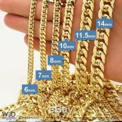 10K Yellow Gold Hollow 8mm Miami Cuban Link Chain Necklace 28