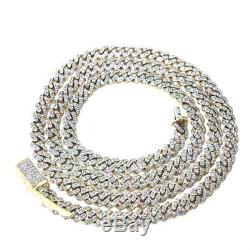 10K Yellow Gold Mens 5.1 mm Miami Cuban Link Genuine Diamond Chain Necklace New