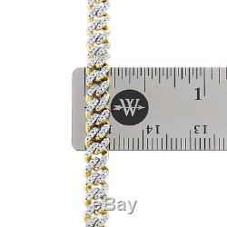 10K Yellow Gold Mens 5.25mm Miami Cuban Link Diamond Chain 22 Necklace 2.10 CT
