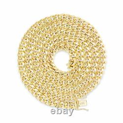 10K Yellow Gold Mens 5mm Genuine Miami Cuban Link Chain Pendant Necklace 16-30