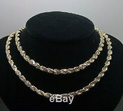 10K Yellow Gold Mens Rope Chain Necklace 18 Inch 5mm Franco Cuban NWT Real
