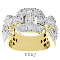 10K Yellow Gold Over Round & Baguette Diamond Puff Gucci Cuban Band Ring 2.50 CT