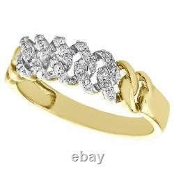 10K Yellow Gold Over Round Diamond Cuban Link Statement Band 6.7mm Pave Ring 2CT