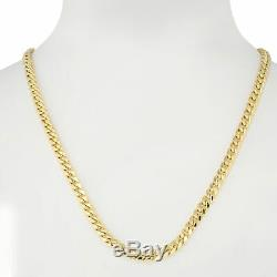 10K Yellow Gold Real 3.5mm-17mm Miami Cuban Link Chain Pendant Necklace 16- 30