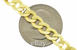 10K Yellow Gold Real 7mm Wide Mens Italian Cuban Curb Chain Link Necklace 24