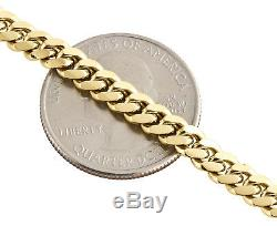 10K Yellow Gold Solid Miami Cuban Link Chain 5mm Box Clasp Necklace 22-30 Inch
