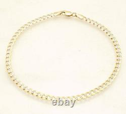 10 Pave Cuban Curb Chain Ankle Bracelet Anklet Real Solid 10K Yellow White Gold