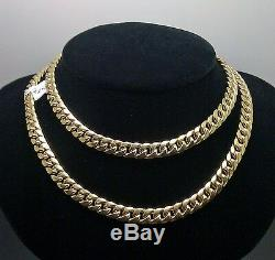 10k Gold Chain Ladies Real Miami Cuban Necklace 16 Inch Box Clasp Strong Link