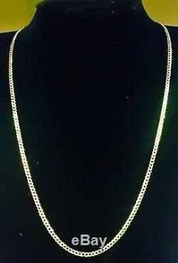 10k Solid Gold Comfort Concave Cuban Curb Link Chain Necklace 20 2.8mm 3.6 grms