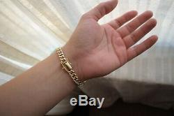 10k Solid Yellow Gold Curb Cuban Miami Link Men's Bracelet 8 34.6g 7.6mm