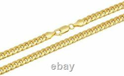 10k Yellow Gold 4mm Miami Cuban Link Chain Necklace Men's Women Size 20 inch