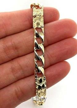 10k Yellow Gold Cuban Link Chain Nugget Bracelet 7 6.75mm 10.5 grams