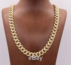 11mm Mens Miami Cuban Greek Desgn Royal Link Chain Necklace Real 10K Yellow Gold