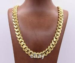 13mm Miami Cuban Royal Link Chain Necklace Shiny Box Clasp Real 14K Yellow Gold