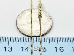 14K 18 1mm Solid Yellow Gold Thin Gourmette Miami Cuban Necklace Pendant Chain