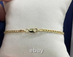 14K Italian Yellow Gold 2.5MM Womens Curb/Cuban Chain Link Anklet 10 Inches