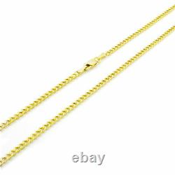 14K REAL Yellow Gold 2.5MM Womens Curb Cuban Chain Link Pendant Necklace 18
