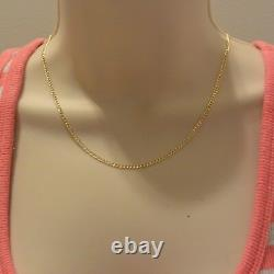 14K Real Yellow Gold 2.3mm Concave Curb Cuban Hollow Chain Necklace 24 Inches