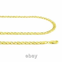 14K Real Yellow Gold 4.5mm 20in Curb Chain Cuban Link Necklace Lobster Clasp 20
