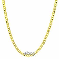 14K Solid Yellow Gold 4mm Cuban Curb Chain Link Necklace Lobster Clasp 16- 30