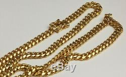 14K Solid Yellow Gold Cuban Link Chain Necklace 72.8 Grams