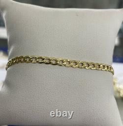 14K Yellow Gold 2.5mm Cuban Link Chain Bracelet 7 inches