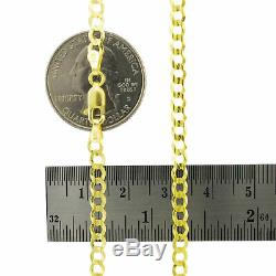 14K Yellow Gold 4mm Wide Solid Curb Cuban Chain Link Necklace Lobster Clasp 22