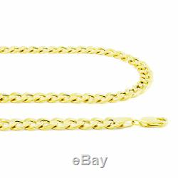 14K Yellow Gold 5.5mm Italian Curb Cuban Link Chain Mens Womens Necklace 18-30