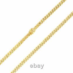 14K Yellow Gold 5.5mm Real Miami Cuban Link Chain Bracelet Safety Box Clasp 7.5