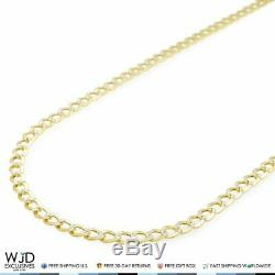 14K Yellow Gold Diamond Cut Pave 4mm Cuban Curb Link Chain Necklace 20